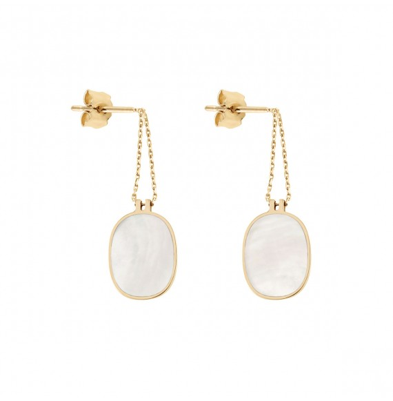 Organic white mother-of-pearl earrings