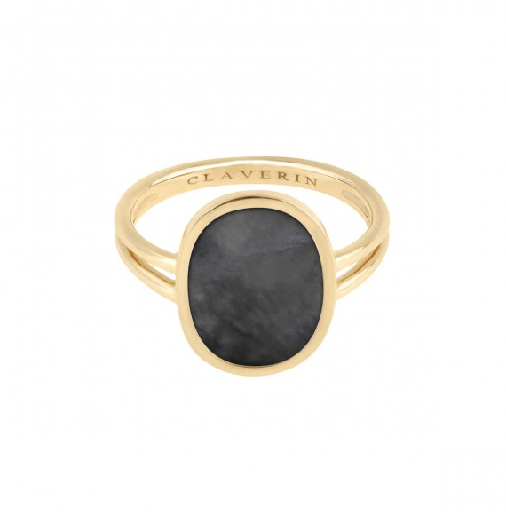 Organic grey mother-of-pearl ring